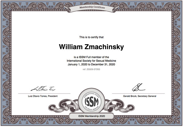 William Zmachinsky member ISSM, International Society for Sexual Medicine