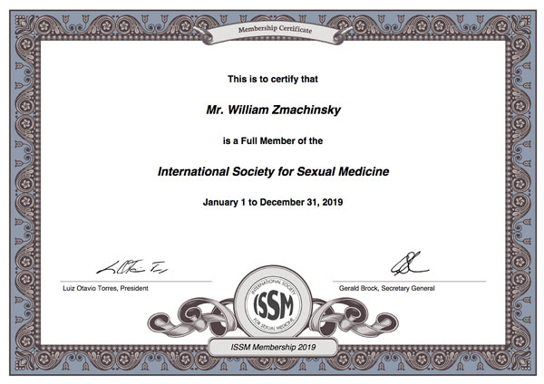 William Zmachinsky member ISSM, International Society for Sexual Medicine